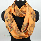 Fashion Colorfull Black Skull Infinity 2Loop Cowl Eternity Endless Casual Scarf