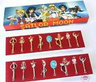 New 1Set 8PCS Sailor Moon Pendant Keys Necklace 2 Colors for Select Free Ship