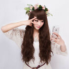 Fashion New Womens Long Wavy Curly Cosplay Lady Party Dress Full Hair Wig Brown