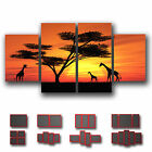 ' Africa Landscape Sunset ' Modern Abstract Wall Art Deco Canvas ~ 4 panels