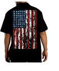 American Flag Distressed Patriotic USA Mechanics Dickies Black WORK SHIRT M-3XL