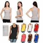 TANK TOP New Womens Basic Comfortable Ribbed Racer Back Tank Top - S M L