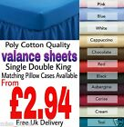 Plain Dyed Polycotton Fitted Valance Bed Sheets Single/Double/King/Pillow Cases