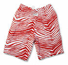 Zubaz Shorts: Red/White Zubaz Zebra Shorts- New