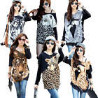 Ladies Long Sleeve Animal Print Women's Top Batwing Loose Casual T-shirt Blouse