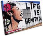 Life is Beautiful  Banksy Street SINGLE CANVAS WALL ART Picture Print VA