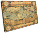 Old World Atlas Maps Flags SINGLE CANVAS WALL ART Picture Print VA