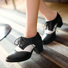 Vintage Brogues Lace Up Oxford Shoes Block Mid Heels Womens Lace Up Goth Shoes