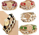 New Fashion Women Girl punk plating gold multicolor leather acrylic chain Watch
