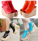 Women's Peep Toe High Wedge Heels Shoes Slingback Faux Leather Platform Sandals
