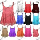 Womens Ladies Full Floral Lace Mesh Camisole Strappy Cami Flared Swing Vest Top