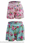 Minoti Baby Girls Culotte Style Floral Shorts Cool 100% Cotton Pink/Pale Blue