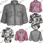 Womens Ladies Floral Printed High Low Chiffon Loose Fit Shirt Blouse Boxy Top