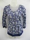 LADIES EX-CHAIN STORE BLUE & WHITE FLORAL 3/4  SLEEVE TOP/ TUNIC