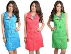 NeW LaDY SeXY Zip Up Belted Sleeveless CasuAL Slim SumMer Dress S/M/L
