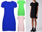 NEW WOMENS CREPE T SHIRT SHIFT DRESS ASYMMETRIC HIGH LOW CASUAL PARTY WEAR 8-14