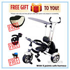 Wellsun 4-in-1 Children Tricycle Baby Kid Trike 3 Wheel Bike with Harness_B&W