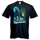 New T Shirt  Wolf WOLF MOON SILHOUETTE Mens Womens Unisex Quality Print