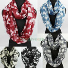 Fashion Women's Elephants Print Soft Infinity 2-Loop Cowl Eternity Casual Scarf