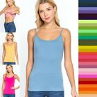 Women's Basic Cropped Cami Tank with SHELF BRA Stretchy Layering Top T9670