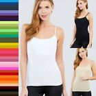 S M L Women Basic COTTON Cropped CAMI Tank with SHELF BRA Soft Stretch Top T9670