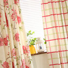 Custom Made French Country Provincial Check Floral Window Curtain Panel