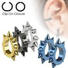 Pair of 316L Steel IP Oval Hoop Non-Piercing Clip On Earrings with spikes