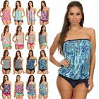 NEW 2 PIECE STRAPLESS BANDEAU BLOUSON TIE TANKINI WOMEN SWIMSUIT SIZE 8-18 #2054