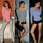 New Multi Colors Ladies Stripe Batwing Sleeve Shirt T-Shirt Tops Blouse One Size