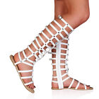 WOMENS WHITE LADIES STRAPPY FLAT HIGH LEG ROMAN GLADIATOR SANDALS SIZE 3-8