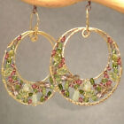 Gemstone Earrings Hammered Circles Green Tourmaline Ruby Vessonite Prehnite USA