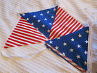12 FT (over 3.5M) Handmade Cotton Fabric Bunting - Stars & Stripes - FREEPOST