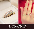 3-in-1 White,Yellow,Rose Gold Plated Thin Ring Set, Little Finger Ring Set R466