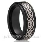 8mm Tungsten Gold Celtic Irish Knot Mens Comfort Fit Wedding Band Promise Ring