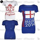 Womens Keep Calm Support England World Cup Brazil 2014 Ladies T Shirt Vest Top