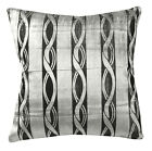 mq04a Silver Metallic Black Ash Grey Wave Shimmer Velvet Style Cushion Cover