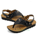Fashion Men's Genuine Leather Sandals Flip Flops Summer Sandals Beach Shoes New