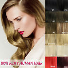 "Clip In Remy Real Human Hair Extensions Full Head 8pcs All Color 15""18""20""22""24"""