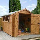 10x8 Wooden Shed Groundsman Shiplap Tongue Groove Garden Sheds Apex Double Door