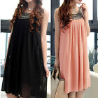 Fashion Women Summer Sleeveless Black Chiffon Dress for Pregnant Dress