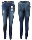 WAKEE. BLUE HIGH RISE SKINNY LEG JEANS WITH RIPPED FEATURE. SIZE 8,10,12,14,16.