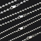 925 Sterling Silver Solid Round Ball Necklace Chain 1-4.5mm 45/50/55/60/70cm NR
