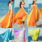 2014 Boho Summer Womens Contrast Elastic Waist Maxi Full Chiffon Skirt Dress Hot