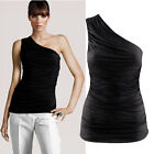 Women jersey one shoulder ruched top t-shirt black white C0046#