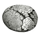 mq06n Silver Metallic Black Ash Grey Rose Shimmer Velvet Round Cushion Cover