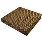 we61t Lt Brown Gold Brown Damask Daisy Thick Cotton 3D Box Seat Cushion Cover