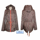 Ladies Womens Raincoat Jacket Mac Festival leopard print hood showeproof sz8-16