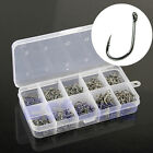 500Pcs Hooks 10 Sizes Fish Fishing Sharpened With Box Top Quality