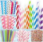 25 RETRO STRIPE PAPER DRINKING STRAWS VINTAGE POLKA PARTY WEDDING BIRTHDAY *UK