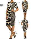 D39 New Womens Black Formal Wedding Cocktail Party Race Midi Print Dress Plus